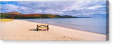 Picnic Table On Beach At Keweenaw Bay Canvas Print