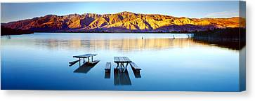 Picnic Tables In The Lake, Diaz Canvas Print by Panoramic Images