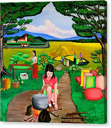 Picnic With The Farmers Canvas Print by Lorna Maza