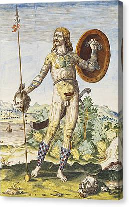 Pictish Man, From Admiranda Narratio..., Engraved By Theodore De Bry 1528-98 1585-88 Coloured Canvas Print by John White