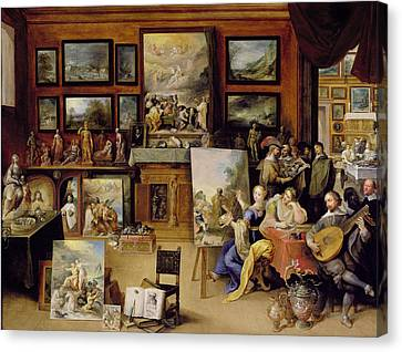 Pictura, Poesis And Musica In A Pronkkamer Oil On Panel Canvas Print by Frans II the Younger Francken