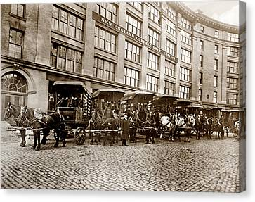 Picture 14 - New - New England Confectionery Co With Horses  Wide Canvas Print by Darlene Kwiatkowski
