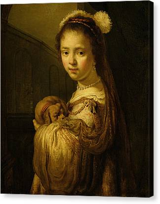 Picture Of A Young Girl Canvas Print by Govaert Flinck