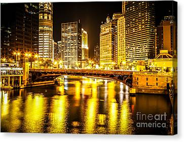 Picture Of Chicago At Night With State Street Bridge Canvas Print by Paul Velgos