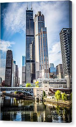 Picture Of Chicago Buildings With Willis-sears Tower Canvas Print by Paul Velgos