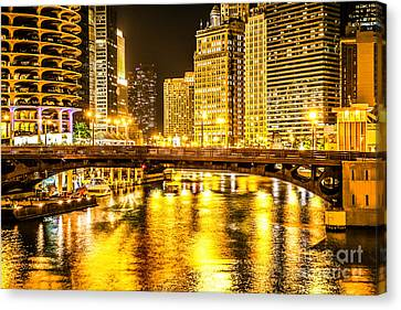 Picture Of Chicago Dearborn Street Bridge At Night Canvas Print by Paul Velgos