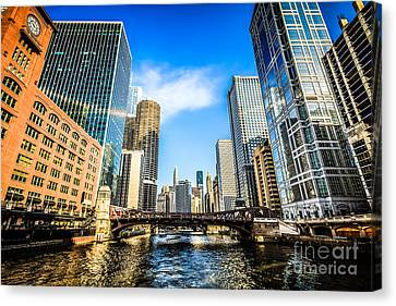 Chicago River Canvas Print - Picture Of Chicago River Skyline At Clark Street Bridge by Paul Velgos