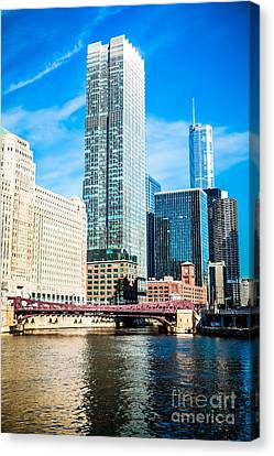 Picture Of Chicago River Skyline At Franklin Bridge Canvas Print by Paul Velgos