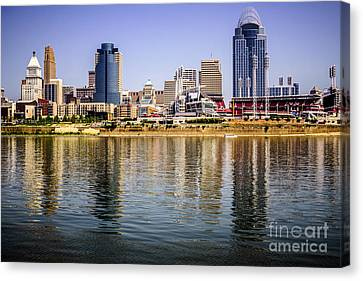 Ballpark Canvas Print - Picture Of Cincinnati Skyline And Ohio River by Paul Velgos