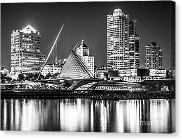 Picture Of Milwaukee Skyline At Night In Black And White Canvas Print by Paul Velgos