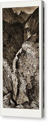 Picturesque America Elk Lake Cascade, Rocky Mountains Canvas Print