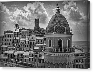 Picturesque Cinque Terre B/w Canvas Print by Hanny Heim
