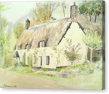 Picturesque Dunster Cottage Canvas Print by Martin Howard
