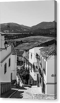 Spanish House Canvas Print - Picturesque Streets Of Ronda. Spain. Black And White by Jenny Rainbow