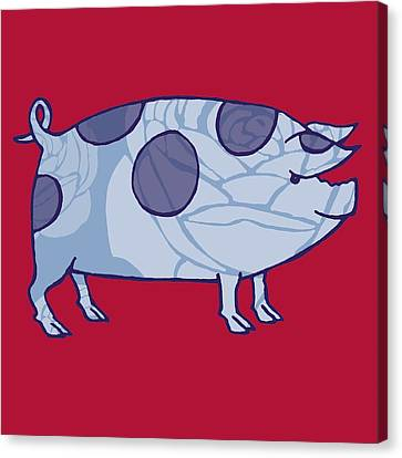 Pig Canvas Print - Piddle Valley Pig by Sarah Hough