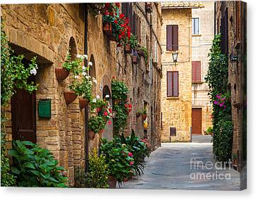 Building Canvas Print - Pienza Street by Inge Johnsson