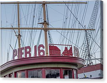 South Street Seaport Canvas Print - Pier 16 South Street Seaport Nyc by Susan Candelario