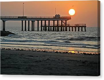 Pier At Dawn Canvas Print