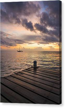 Pier At Sunset Vertical  Canvas Print
