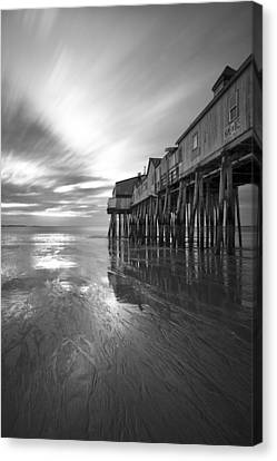Pier In Monochrome Canvas Print by Eric Gendron