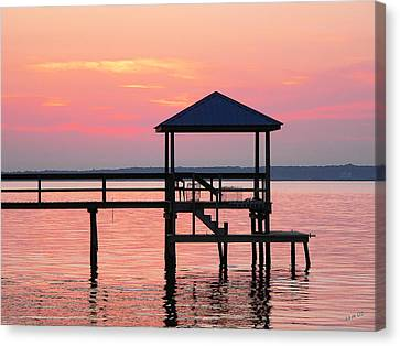 Pier In Pink Sunset Canvas Print