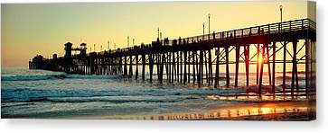 Pier In The Ocean At Sunset, Oceanside Canvas Print