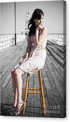 Pier Lady Pondering  Canvas Print by Jorgo Photography - Wall Art Gallery