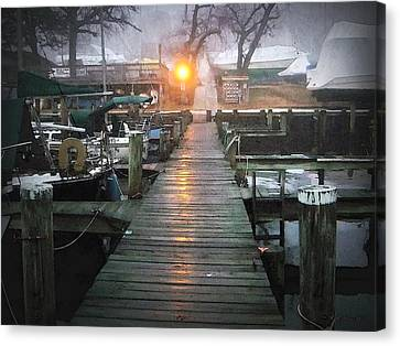 Pier Light - Watercolor Effect Canvas Print by Brian Wallace