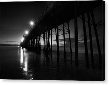 Pier Lights - Black And White Canvas Print by Peter Tellone