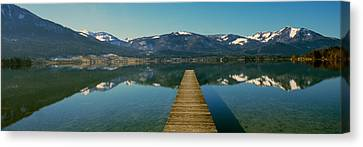 Pier Over On A Lake, Wolfgangsee, St Canvas Print by Panoramic Images