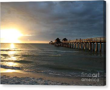 Pier Sunset Naples Canvas Print by Christiane Schulze Art And Photography