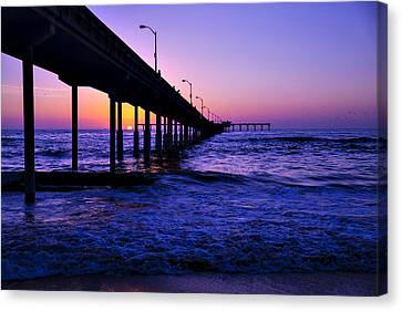 Pier Sunset Ocean Beach Canvas Print by Garry Gay