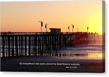 Pier Sunset W/scripture Canvas Print