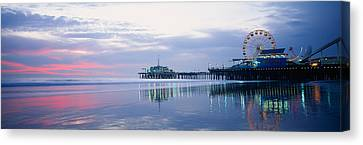 Pier With A Ferris Wheel, Santa Monica Canvas Print by Panoramic Images