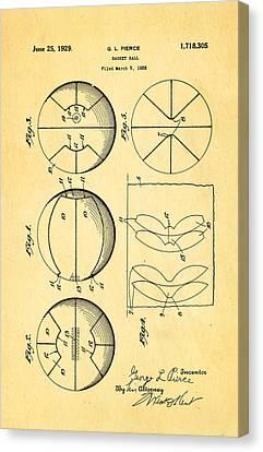 Pierce Basketball Patent Art 1929 Canvas Print