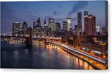 Canvas Print featuring the photograph Piercing Manhattan by Mihai Andritoiu