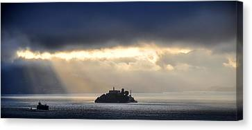 Piercing Through Darkness Light Shines On The Rock Canvas Print