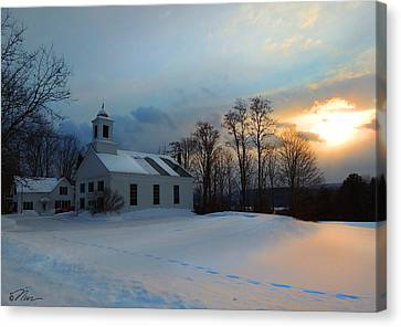Piermont Church In Winter Light Canvas Print by Nancy Griswold