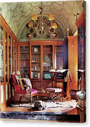 Piero Castellini's Library Canvas Print by Simon Upton