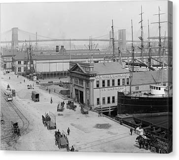 Piers Along South Street 1900 Canvas Print by Steve K