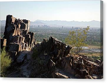 Piestewa Peak And The City Of Phoenix Canvas Print by Jim West