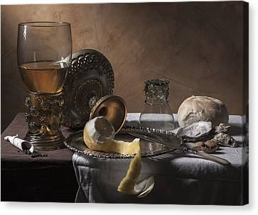 Canvas Print featuring the photograph Pieter Claesz- Breakfast Piece by Levin Rodriguez