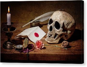 Canvas Print featuring the photograph Vanitas With Skull-writting Utensils-watch And Anemone by Levin Rodriguez