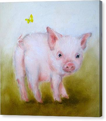Pig And Butterfly Painting Canvas Print by Junko Van Norman