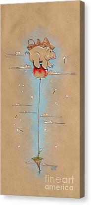 Pig On Balloon Canvas Print by David Breeding