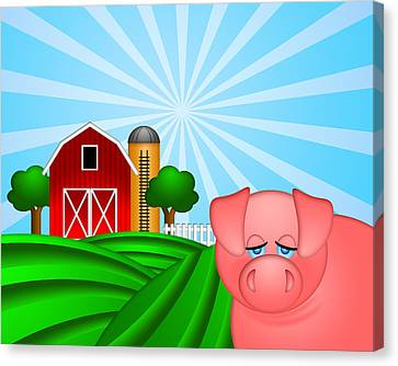 Pig On Green Pasture With Red Barn With Grain Silo  Canvas Print by JPLDesigns