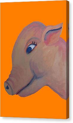 Pig On Orange Canvas Print by Cherie Sexsmith