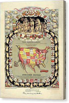 Pig-shaped Map Of The Usa Canvas Print by Library Of Congress