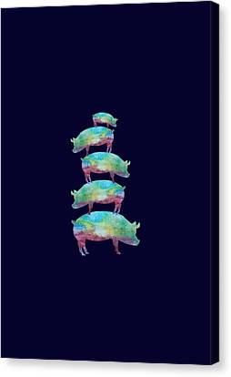 Pig Stack Canvas Print