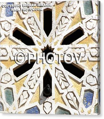 Pigeon And Mosaic Wall - Morocco Canvas Print by Hisham Ibrahim